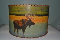 """Moose, Bear, Deer Lamp Shade 14"""" x 14"""" Drum, Rustic Cabin Decor"""