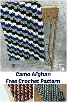 Free Crochet Pattern for the or corner to corner Camo Afghan by Crafting Friends Designs Knit Or Crochet, Learn To Crochet, Double Crochet, Single Crochet, Easy Crochet, Crochet Baby, Free Crochet, Crochet Throws, Crocheted Blankets