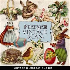 Freebies Vintage Easter Vignettes- Awesome webste w/ free vintage downloads
