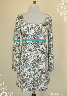 Angel Delight 60s Dress with Bell sleeves and braid detail