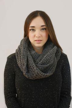 Charcoal Crochet Infinity Scarf. Handmade Montreal Miyuki Crochet
