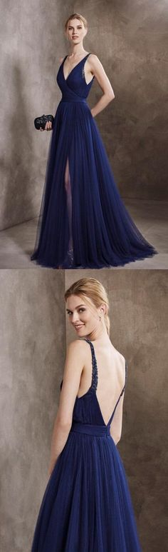 Generous A-Line V-Neck Navy Blue Tulle Long Prom/Evening Dress with Beading by prom dresses, $140.94 USD
