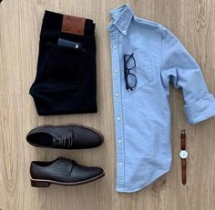 Men Casual Shirt Outfit 🖤 Very Attractive Casual Outfit Grid, Mens Casual Dress Outfits, Stylish Mens Outfits, Men Dress, Blue Shirt Outfit Men, Casual Jeans, Dress Shoes, Smart Casual Wear, Casual Wear For Men, Casual Shirts For Men