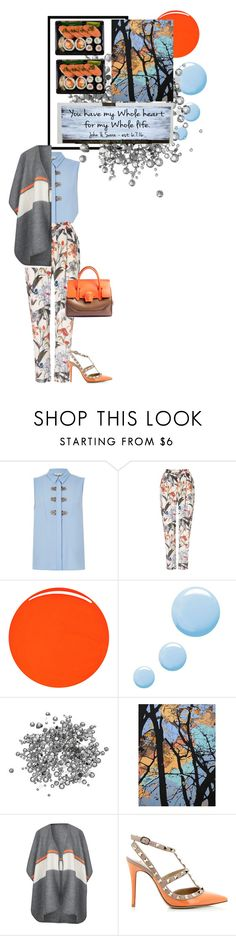 """""""Blue sky and Orange"""" by shahzanan ❤ liked on Polyvore featuring River Island, Phase Eight, RGB Cosmetics, Topshop, NOVICA and Valentino"""