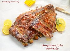 Brazilian-Style Pork Ribs: Enjoy our easy to make, fall-off the bone, caramelized pork ribs...It's to die for!!!!!!!!!! Recipe: http://www.frombraziltoyou.org/brazilian-recipes/from-brazil-to-you-brazilian-style-pork-ribs-costela-de-porco-assada/