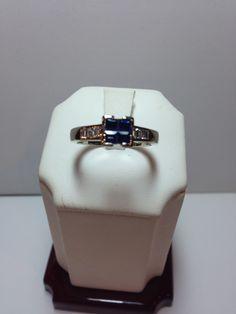 14k White Gold Princess Cut Sapphire & Diamond Ring only $175!  www.goldassayinc.com