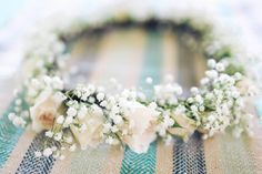 Watanabe Floral, Inc - Hawaii Florists - Boho chic wedding flower crown with garden roses and baby's breath