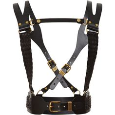 Prabal Gurung Regiment Leather Harness ($600) ❤ liked on Polyvore featuring accessories, belts, harness, bondage, black and prabal gurung