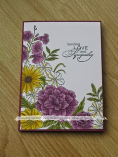 Cased card - Stampin' Up! Corner garden sympathy card with blendabilities Card Making Inspiration, Making Ideas, Corner Garden, Scrapbook Cards, Scrapbooking, Making Greeting Cards, Beautiful Handmade Cards, Stamping Up Cards, Get Well Cards