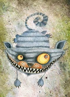Stefano Bessoni, the Cheshire Cat Lewis Carroll, Cheshire Cat Art, Creepy Cat, John Tenniel, Drawing Prompt, Alice Madness, Were All Mad Here, A Level Art, Alice Liddell