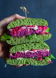 One more great recipe of a Veggie burger. Warm homemade spinach bun, firm and juicy purple sweet potato patty, spicy wasabi mayo and probiotic beetroot sauerkraut. Nothing beats a delicious burger on a chilly evening! Let`s start from gluten-free buns. The first step is to make green coloring using baby-spinach …
