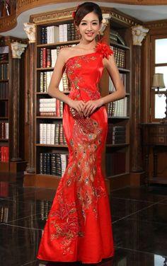 One-shoulder Chinese Qipao - Cheongsam Wedding Dress for reception.