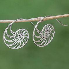 Sterling silver drop earrings, 'Spiral Nautilus' - Sterling Silver Spiral Shaped Drop Earrings from Indonesia