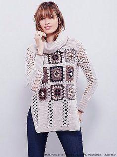 32 Ideas crochet granny square shawl for 2019 Crochet Bolero, Crochet Coat, Crochet Jacket, Crochet Cardigan, Crochet Clothes, Crochet Squares, Crochet Granny, Granny Squares, Crochet Baby