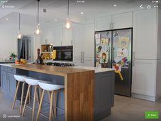 Ideas For Breakfast Bar Kitchen Design Stools Kitchen Living, New Kitchen, Kitchen Island, Island Bar, Kitchen Grey, Kitchen Corner, Shaker Kitchen, Living Rooms, Kitchen Interior