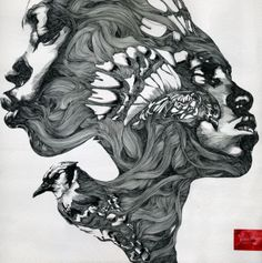 A pen and ink painting by Gabriel Moreno that merges the faces of two African women « « Mayhem & Muse