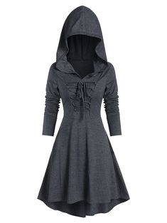 DressLily Hooded Lace-up Heathered High Low Gothic Dress Modest Homecoming Dresses, Classy Prom Dresses, Casual Formal Dresses, Dresses For Teens, Classy Dress, Modest Dresses, Pretty Dresses, Short Dresses, Dress Long