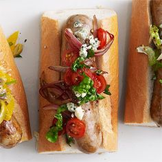 Sausages with Balsamic Tomatoes, Onion, Spinach, and Blue Cheese Relish Recipe - Delish.com