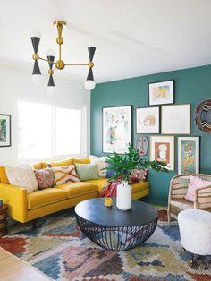 Colourful Living Room, Boho Living Room, Bright Living Rooms, Yellow Walls Living Room, Living Room Modern, Living Room Decor Colours, Room And Board Living Room, 1940s Living Room, Cozy Eclectic Living Room