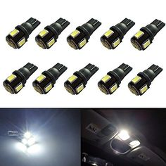 JDM ASTAR 10pcs Super Bright 194 168 175 2825 W5W 158 161 T10 Wedge High Power 5630 SMD 6000K LED Bulbs, Xenon White(Best Value on the market), 2016 Amazon Top Rated Light & Lighting Accessories #AutomotivePartsandAccessories