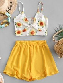 Smocked Knotted Sunflower Top And Shorts Set Occasion: Beach and Summer,Daily,Going Out Style: Fashi Teen Fashion Outfits, Outfits For Teens, Girl Fashion, Girl Outfits, Style Fashion, Choice Fashion, Fashion Sets, Trendy Fashion, Cute Summer Outfits