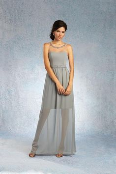 Balletts Bridal - 22075 - Bridesmaids by Alfred Angelo - AA BM - - Chiffon floor length gown with a dipped neckline, gathered natural waistband and knot detail, softly gathered skirt and a sheer net yoke with beaded trim to match dress. Glamorous Bridesmaids Dresses, Bridesmaid Dress Styles, Alfred Angelo Bridal, Strapless Dress Formal, Formal Dresses, Floor Length Gown, Gathered Skirt, Bridal Style, One Shoulder Wedding Dress