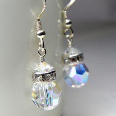 Crystal Earrings, Swarovski, Drop, Sterling Silver, Bridesmaid, Bridal, Wedding, Handcrafted Jewelry. $16.00, via Etsy.