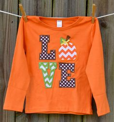 Personalized LOVE Pumpkin Applique Shirt or Onesie for Boy or Girl on Etsy, $25.00