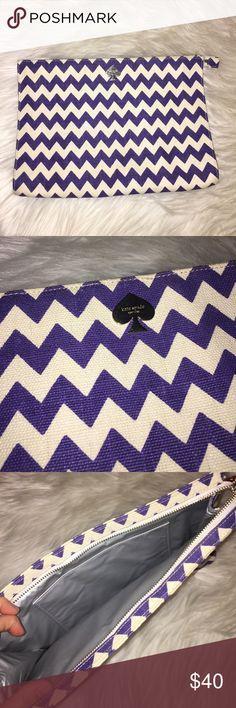 "Kate spade chevron pouch Authentic canvas chevron pouch. Interior slip pocket. Zip top closure. 12""L x 8 1/2"" H x 2"" W kate spade Bags Clutches & Wristlets"