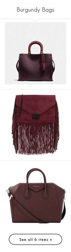 """""""Burgundy Bags"""" by stacy-hardy on Polyvore featuring bags, handbags, leather crossbody purses, leather satchel handbags, satchel purses, coach purses, satchel handbags, clutches, suede handbags and clasp purse"""