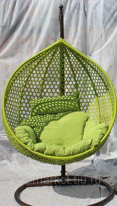 """Плетеное подвесное кресло Fresco 41 - Интернет-магазин """"Кит-Маркет"""" Плетеная мебель из ротанга, подвесные кресла, садовые качели из Китая. в Москве Macrame Hanging Chair, Macrame Chairs, Macrame Art, Macrame Projects, Hammock Chair, Chair Bed, Diy Chair, Swinging Chair, Hammock Swing"""