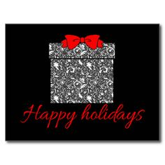 Black, White and Red Holiday Card Post Cards