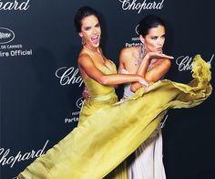 ALESSANDRA AMBROSIO AND ADRIANA LIMA arrived at Chopard's 'Backstage Party' at the 67th Annual Cannes International Film Festival in France in model style.