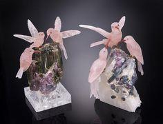 Two Rose Quartz Carvings Depicting Hummingbirds