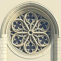Roseton Gotico De Traceria Calado Ornamental En Piedra