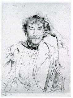 « Portrait de J. Mc Neill Whistler », drypoint, 1897 // Paul-César Helleu