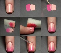 Looking for cool nail art ideas and nail designs you can do at home? Nail polish painting tutorials and at home manicure tips for easy, pretty DIY nails. Nail Art Cute, Nail Art Diy, Easy Nail Art, Diy Nails, Cute Nails, Pretty Nails, Pink Ombre Nails, Gradient Nails, Faded Nails