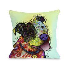 Doggy Décor Pure Joy Polyester Throw Pillow