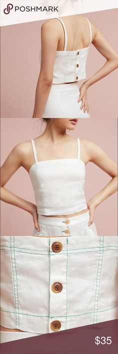 Anthropologie Riverine Cropped Tank by Akemi + Kin White, size 6, worn once Anthropologie Tops Crop Tops