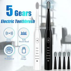 5 Gears Electrical Toothbrush Waterproof Tooth Brush USB Rechargeable Timer Brush Timming Cleaner with four Alternative Head Usb, Ultrasonic Toothbrush, Lava, Red Light, Soft Power, Sonic Electric Toothbrush, Hygiene, Brush Cleaner, Teeth Whitening