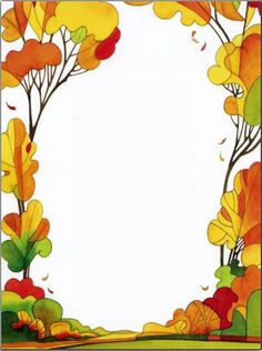 jesień                                                       … Borders For Paper, Borders And Frames, Contour Images, Printable Border, Frame Background, Autumn Activities, Note Paper, Writing Paper, Border Design