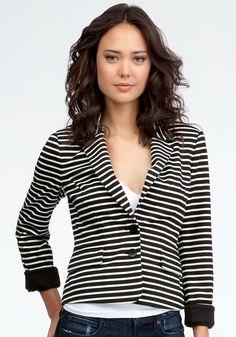 bebe Casual Knit Striped Blazer