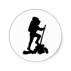Hiker Silhouette Emblem Graphic Design Backpacker Round Stickers