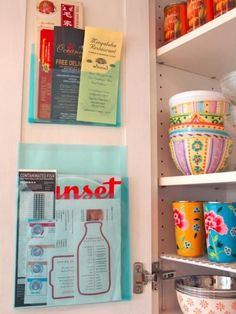Don't waste a whole drawer on take-out menus and coupons. By attaching a couple of plastic sleeves to the inside of a cabinet drawer, you will have all the space you need, while taking up hardly any room.