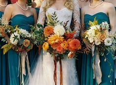 The brides long sleeved gown, the teal of the bridesmaids dresses and those bouquets makes…