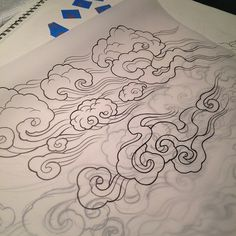 Tibetan clouds-must incorporate this into my snow leopard tattoo design! Wind Tattoo, Smoke Tattoo, Tattoo Art, Tattoo Design Drawings, Tattoo Designs, Japan Tattoo Design, Japanese Cloud Tattoo, Japanese Tattoos, Rauch Tattoo