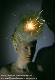 avant garde hairstyle with fiber optic lighting  www.facebook.com/victoryroll  www.asthecurlturns.wordpress.com