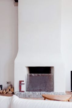 simple fireplace no surround scandi with shelf - Google Search