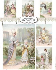 Period Fashion Digital Collage Sheet - Instant Download - ATC Card ACEO Tags - Printable Vintage Image Illustration - Shabby Chic