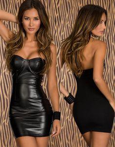Ladies Sexy Lingerie Gothic Black Vinyl Mini Dress With Chain Dance Clubwear 712 #other #ShirtDress #Clubwear